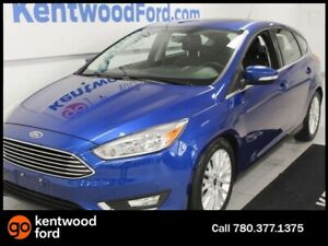 2018 Ford Focus Titanium FWD hatchback with a sunroof, heated po