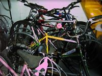 Mountain Bikes x 10 All Need Attention Suitable For Spares or Repair, Also Wheels, Frames Etc.