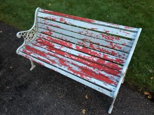 DIY - wooden bench with rod iron sides