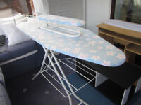 Almost new ironing board with additional sleeve ironing board and built in stack tray