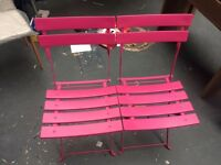 2 BRAND NEW PINK METAL GARDEN CHAIRS