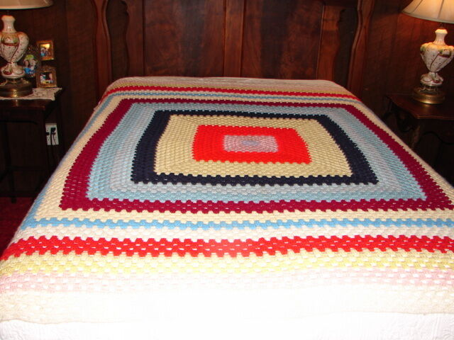 New Handmade Handcrafted Crochet Afghan Throw Blanket  Granny square design