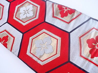ANTIQUE JAPANESE NAGOYA OBI FOR KIMONO, BEAUTIFUL CRAFT MATERIAL, WOVEN WAVE