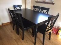 Black Extendable Ingatorp Dining Table with 6 Ingolf Chairs (IKEA)