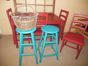 wood table and chairs in red London Ontario image 8