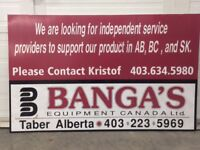 Looking for independent service providers in AB, SK and BC