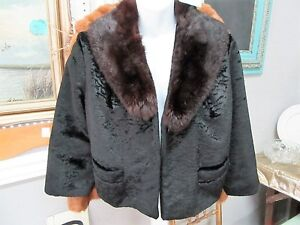 Vintage Mink Collar Black Jacket