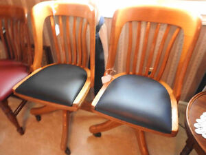 antique vintage secretary chairs (no arms new) leather seats