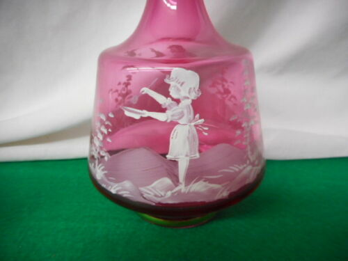 """Mary Gregory Moser Glass Cranberry Decantor 12"""" Tall w 6 Small Glasses"""
