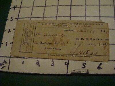 Orig  RECEIPT -- 1848 - b h Ropes family & Fancy BREAD BAKERY -- ROXBURY MA