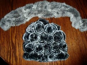 Real Rex rabbit fur hat and scarf NEW