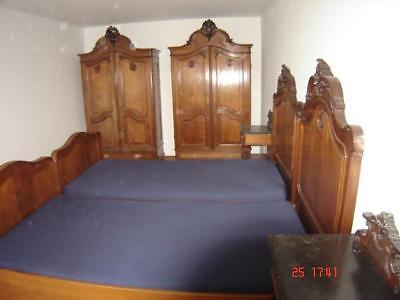 Komplettes Schlafzimmer Nussbaum im Barockstil antik um1890 signiert Prade #4099