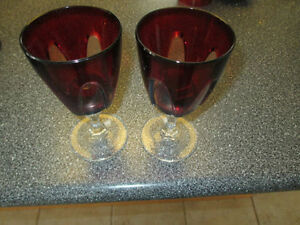 Pair of red crystal wine glasses