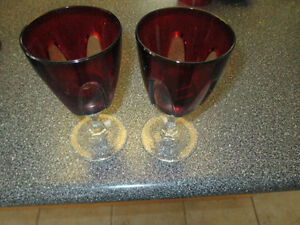 Pair of red crystal wine glasses Kitchener / Waterloo Kitchener Area image 1