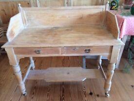 Antique Pine Ladies Desk on castors