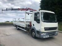 2012 12 DAF LF 45.160 20ft6 alloy dropside HMF 535 triple extension remote crane