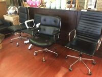 Eames Office Chairs - Genuine Black Leather