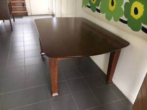 Silky oak dining table with 6 matching chairs and sideboard