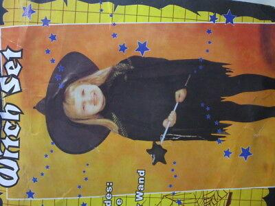 tüm schwarz Gr. S 3 bis 4 Jahre Halloween Karneval F945 (Kleinkind Hexe)
