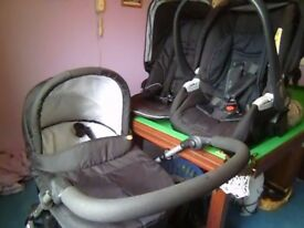 Mama & Papa pram with car seat, and push chair that fits on pram wheels