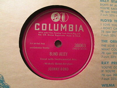 JOHNNY BOND - Blind Alley / What's Been Going On    COLUMBIA 38063 - 78rpm