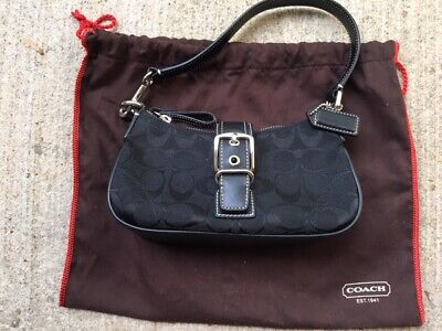 THE COACH SIGNATURE COLLECTION Black Hobo Shoulder Bag Purse M3U-6362