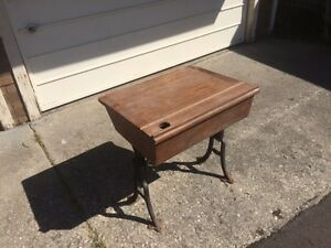 Antique school desk - wooden with cast iron legs
