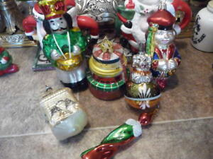 Collection Of 6 Large Figural Glass Christmas Thee Ornaments