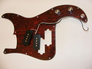 P-BASS  Loaded PICKGUARD.   RED  TORTOISE,  Pre-wired, ****