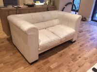 White Leather Two Seater Sofa