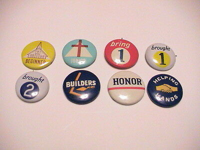 LOT /8 RELIGIOUS PINS PINBACKS SUNDAY SCHOOL BIBLE CHURCH ATTENDANCE NICE SET
