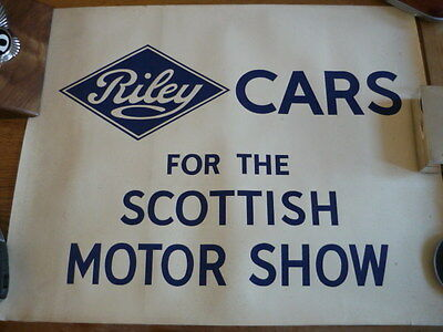 RARE & UNUSUAL RILEY , FACTORY POSTER OR PLAKARD, PRE WAR?  jm