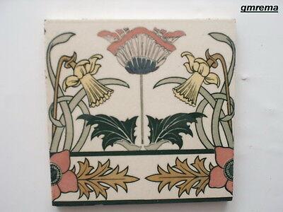JUGENDSTIL FLIESE BOCH METTLACH ART NOUVEAU TILE um 1900