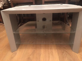 WOODEN TV CABINET WITH 2 GLASS SHELVES, STRONG, VERY GOOD CONDITION, REDUSED