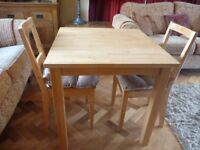 Solid Wood Table & 2 Chairs in Good Condition