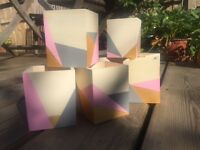 Hand painted pencil pots/wedding decor - geometric pattern.