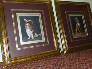 Dapper Dogs! 2 framed Dogs: Basset & Boxer in Military Wear! CUT
