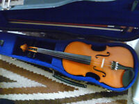 1/2 size violin outfit - suit age 7-9 approx -as new condition, well set up
