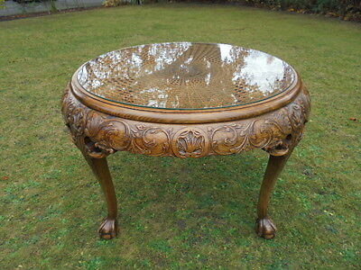 Antique Carved Walnut & Bergere Coffee Table