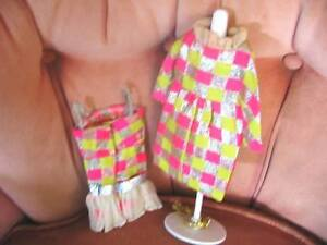 1814 STUNNING BARBIE DOLL 68-69 SPARKLE SQUARES COAT,DRESS,PURSE