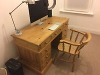 SOLID PINE DESK AND CAPTAINS CHAIR - VERY GOOD CONDITION