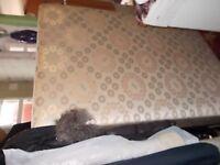 Double Divan bed base .By Obas excellent condition legs with castors.