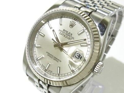Auth ROLEX Datejust 116234 Silver 18K White Gold 63600 Men