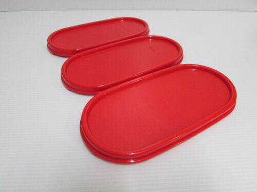 3 NEW Tupperware Modular Mates Oval Lid Chili Red Replacement Seal Cover #1616*