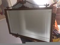 Ornamental antique wall mirror Victorian OIRO £160 large gold wood rectangle art deco period