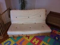 Futon wooden sofa bed with ivory or brown cotton twill mattress