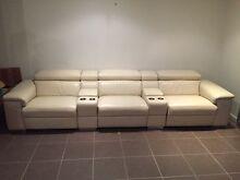 Cream 3 x 1.5 Seater Bay Leather Republic Auditorium Series Sofa Mango Hill Pine Rivers Area Preview