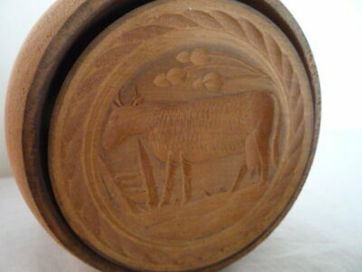 LARGE CARVED TREEN BUTTER PRINT STAMP WOOD BUTTER MOULD COW