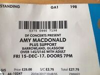 2 FACE VALUE TICKETS AMY MACDONALD BARROWLANDS THIS FRIDAY