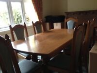 Dining room suite in medium oak table,6 chairs, sideboard
